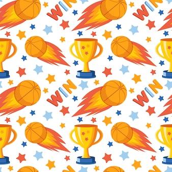 Бесшовные модели баскетбол, победитель кубка, выиграть надпись, звезды.