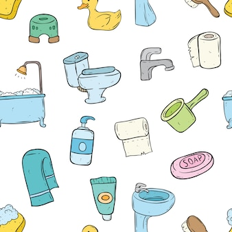 Seamless pattern of bathroom elements with doodle style