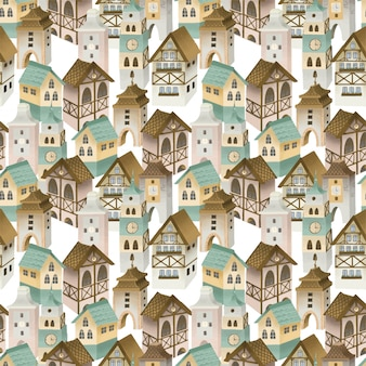 Seamless pattern of bavarian houses, german old town street, hand painted