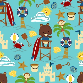 Seamless pattern of beach theme cartoon with animals