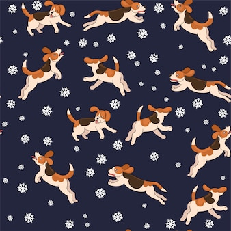 Seamless pattern beagle dogs catch snowflakes.  graphics.