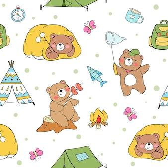 완벽 한 패턴 곰 캠핑 여름 캠프