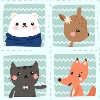 シームレスパターンクマ、猫、キツネ、鹿