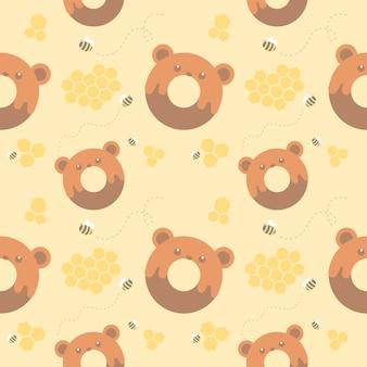 Seamless pattern of bear donuts