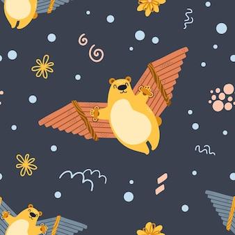 Seamless pattern bear flying with handmade wings. cute cartoon teddy.
