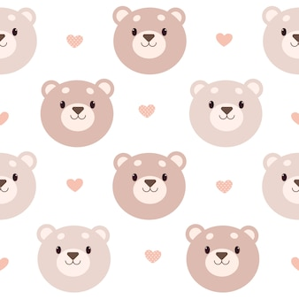 Seamless pattern of bear and heart on the white background.