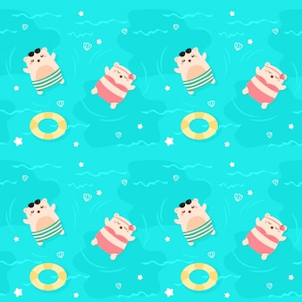 Seamless pattern bear in the sea