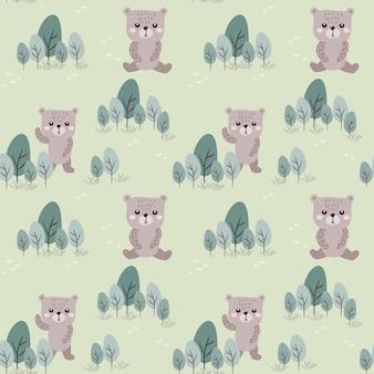 Seamless pattern bear and tree