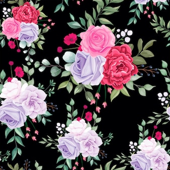 Seamless pattern beautiful blooming floral