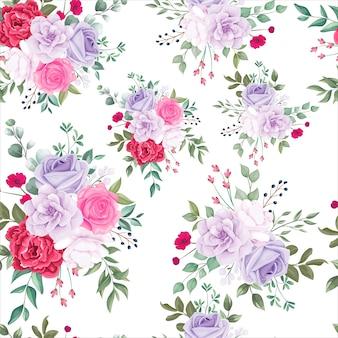 シームレスパターン美しい咲く花