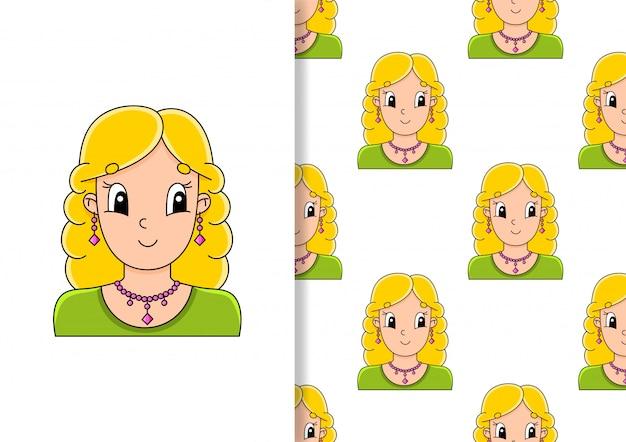 シームレスパターン。ジュエリーの美しいかわいいおしゃれな女の子。