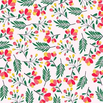 Бесшовный узор красивый цветок и лист premium векторы
