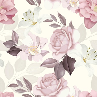 シームレスなパターンの美しい花と葉のデザイン