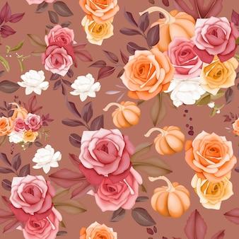 シームレスパターン美しい花と葉のデザイン