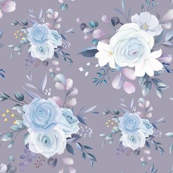 완벽 한 패턴 아름 다운 꽃과 나뭇잎 디자인