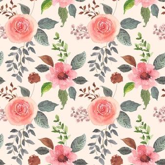 シームレスなパターンの美しい花と葉の水彩画
