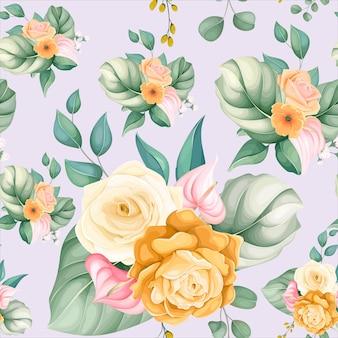 완벽 한 패턴 아름 다운 꽃과 잎
