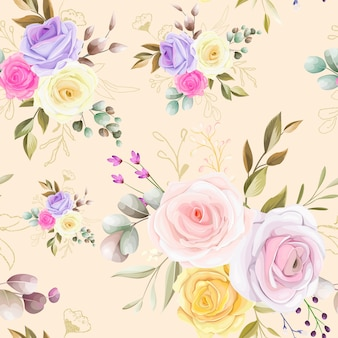 Modello senza cuciture bel fiore e foglie di design