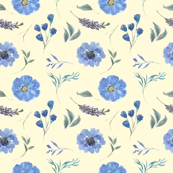Seamless pattern beautiful flower and leaves watercolor