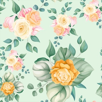 Seamless pattern beautiful flower and leaves