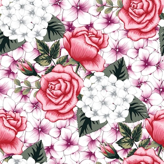 Seamless pattern beautiful flowers abstract background.