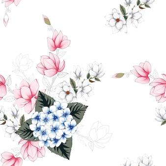 Seamless pattern beautiful flowers background.