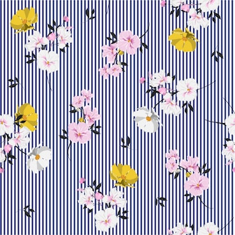 Seamless pattern beautiful full of blooming flowers and leaves bright mood on navy blue stripe