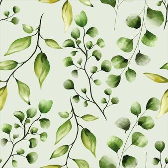 シームレスパターン美しい緑の葉のデザイン