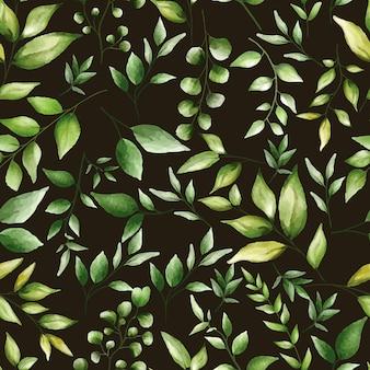 Modello senza cuciture bellissimo design di foglie verdi Vettore gratuito