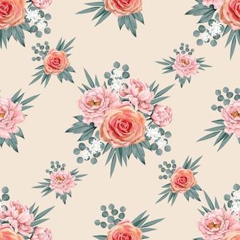 Seamless pattern beautiful pink paeonia and rose