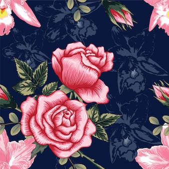 Seamless pattern beautiful pink rose and orchid flowers on dark blue color background