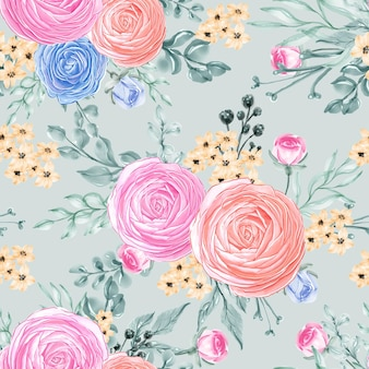 Seamless pattern beautiful rose pink flower leaves