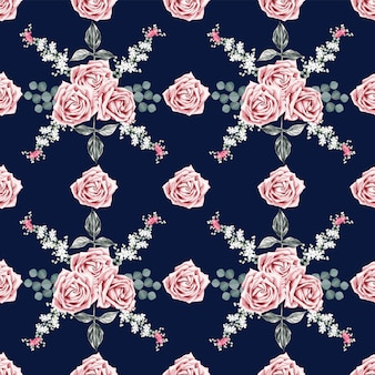 Seamless pattern beautiful rose vintage flowers