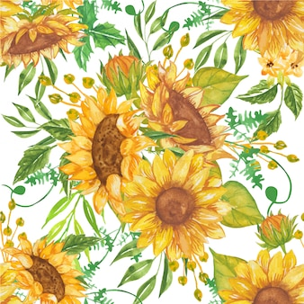 Seamless pattern of beautiful watercolor yellow sunflowers