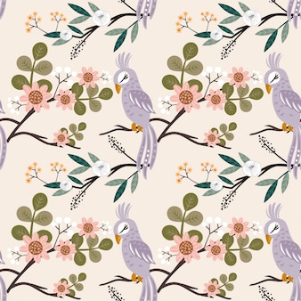 Seamless pattern beautyful bird with many flower