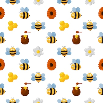 Seamless pattern bee and honey isolated