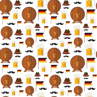 Seamless pattern beer barrels and mugs for oktoberfest festival theme