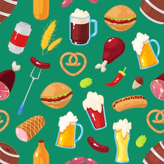 Seamless pattern of beer festival