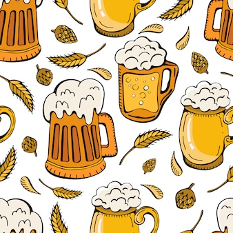 Seamless pattern of beer mugs, hops and wheat ears. beer beverages retro cartoon of mugs and tankards full of light beer, lager and ale drinks.