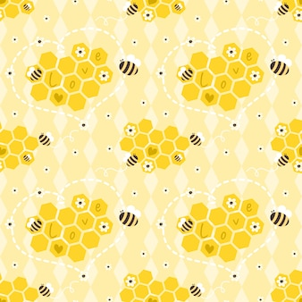 Seamless pattern bees and honeycombs