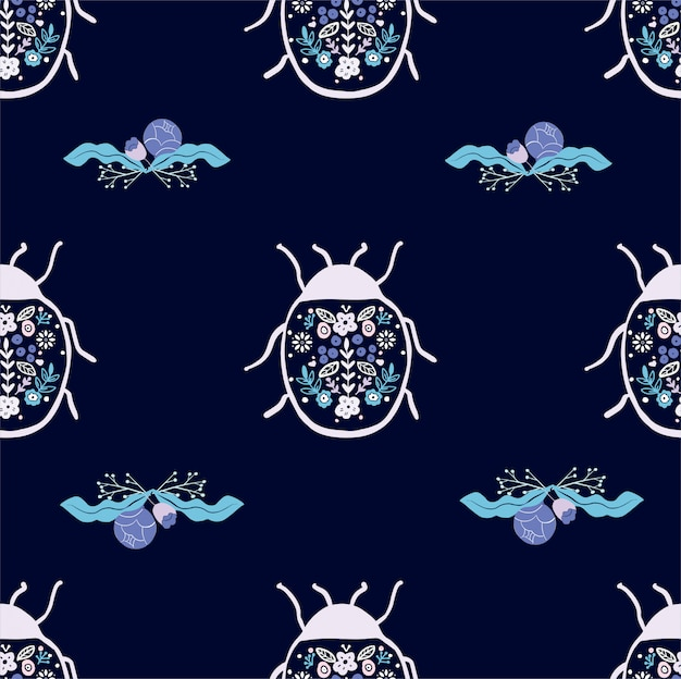 Seamless pattern of beetle bug