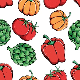 Seamless pattern of bell pepper, artichoke, pumpkin and tomato with colored hand drawn sty