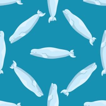 파란색 배경에 원활한 패턴 벨루가입니다. 어린이를 위한 바다의 만화 캐릭터 템플릿입니다. 해양 고래류로 반복되는 대각선 텍스처입니다. 어떤 목적을 위한 디자인. 벡터 일러스트 레이 션.