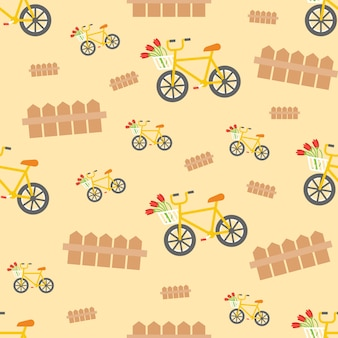 Seamless pattern of bicycle and fence,retro theme