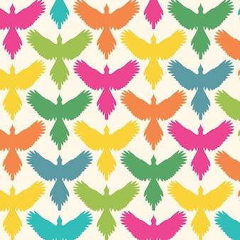 広げた翼の正面図自由概念の背景とシームレスなパターンの鳥の輪郭
