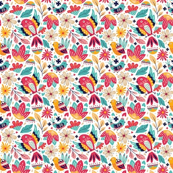 Seamless pattern bird doodle style with nature leaves and foliage blossom and blooming flower