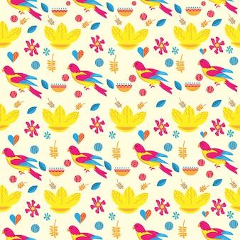 花とシームレスなパターンの鳥