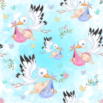 Seamless pattern for the birth of a child.