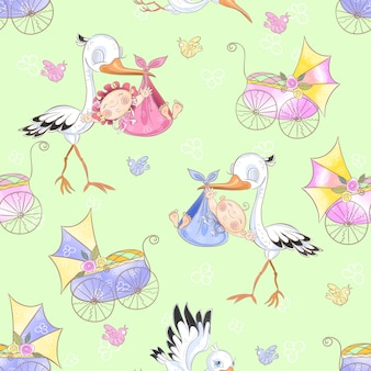 Seamless pattern for the birth of a child