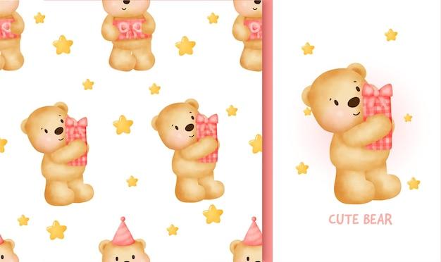 ギフトボックスを保持しているかわいいテディベアとシームレスなパターンの誕生日グリーティングカード。